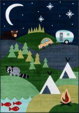 """Momeni Mini Mo Pla-4 Happy Camper Blue 4'11"""" x 7'0″ PLAYTPLA-4BLU4B70"""