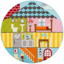 Momeni Mini Mo Pla-8 Play House Multi 4'4″ x 4'4″ Round PLAYTPLA-8MTI444R