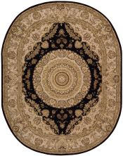 Nourison 2000 Traditional, Black 7'6″ x 9'6″ Oval 2233BLCK6X9