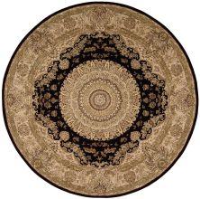 Nourison 2000 Traditional, Black 8'0″ x 8'0″ Round 2233BLCKROUND