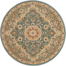 Kathy Ireland Ki11 Antiquities Traditional, Rustic/Vintage, Slate Blue 3'9″ x 3'9″ Round ANT06SLTBLROUND