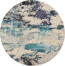 "Nourison Celestial Ivory/Teal Blue 7'10"" x 0'0″ Round CES02VRYTLBL8ROUND"
