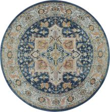 Nourison Ankara Global Blue/Multicolor 4'0″ x 0'0″ Round ANR11BLMLTCLR4ROUND
