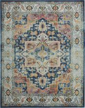 "Nourison Ankara Global Blue/Multicolor 7'10"" x 9'10"" ANR11BLMLTCLR8X10"