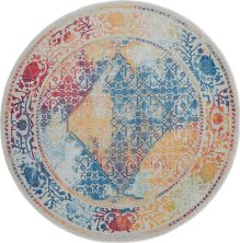 Nourison Ankara Global Ivory/Multicolor 6'0″ x 6'0″ Round ANR04VRYMLTCLR6ROUND