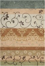 Nourison Contour Patchwork/Bohemian, Striped, Green 8'0″ x 10'6″ CON10GRN8X10