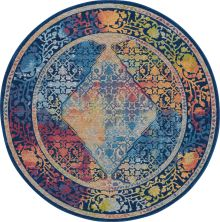 Nourison Ankara Global Blue/Multicolor 6'0″ x 6'0″ Round ANR04BLMLTCLR6ROUND