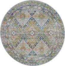 Nourison Ankara Global Blue/Green 6'0″ x 6'0″ Round ANR07BLGRN6ROUND