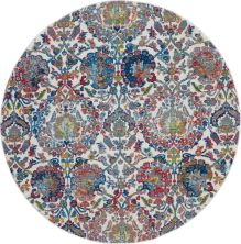 Nourison Ankara Global Ivory/Blue 6'0″ x 6'0″ Round ANR06VRYBL6ROUND