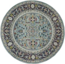 Nourison Ankara Global Teal/Multicolor 4'0″ x 0'0″ Round ANR14TLMLTCLR4ROUND