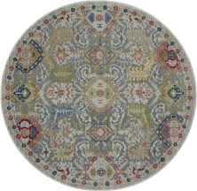 Nourison Ankara Global Grey/Multicolor 6'0″ x 0'0″ Round ANR12GRYMLTCLR6ROUND