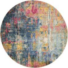 Nourison Celestial Blue/Yellow 5'3″ x 0'0″ Round CES09BLYLLW5ROUND