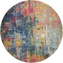 "Nourison Celestial Blue/Yellow 7'10"" x 0'0″ Round CES09BLYLLW8ROUND"