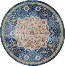 Nourison Ankara Global Blue 4'0″ x 0'0″ Round ANR03BL4ROUND