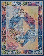 "Nourison Ankara Global Blue/Multicolor 8'10"" x 11'10"" ANR04BLMLTCLR9X12"