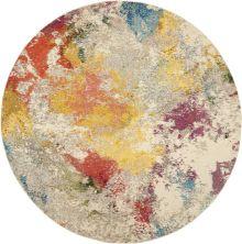 "Nourison Celestial Ivory/Multicolor 7'10"" x 0'0″ Round CES12VRYMLTCLR8ROUND"