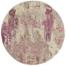 Nourison Celestial Ivory/Pink 5'3″ x 0'0″ Round CES02VRYPNK5ROUND