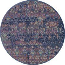 Nourison Ankara Global Navy/Multicolor 6'0″ x 6'0″ Round ANR08NVYMLTCLR6ROUND