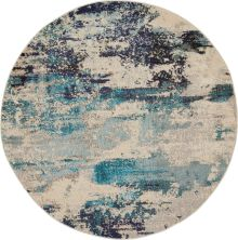 Nourison Celestial Ivory/Teal Blue 4'0″ x 0'0″ Round CES02VRYTLBL4ROUND