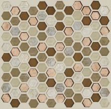 Shaw Floors Home Fn Gold Ceramic Molten Hexagon Glass Penny 00600_TGJ82
