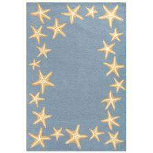 Liora Manne Capri Starfish Border Blue 7'6″ x 9'6″ CAP71171003