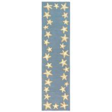 Liora Manne Capri Starfish Border Blue 2'0″ x 8'0″ CAPR8171003