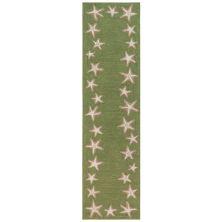 Liora Manne Capri Starfish Border Green 2'0″ x 8'0″ CAPR8171006