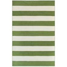Liora Manne Sorrento Rugby Stripe Green 7'6″ x 9'6″ SRN71630206