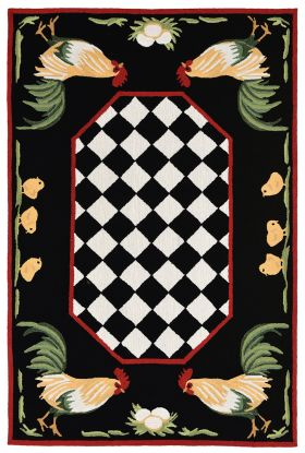 Liora Manne Frontporch Rooster Black Collection