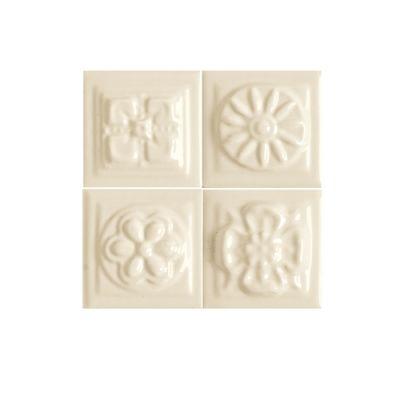 Daltile Fashion Accents 135 Almond Bouquet Insert 2″ X  2″ (set Of 4) White/Cream FA5222DOTS1P