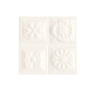 Daltile Fashion Accents 190 Arctic White Bouquet Insert 2″ X 2″ (set Of 4) White/Cream FA5122DOTS1P