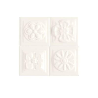 Daltile Fashion Accents 190 Arctic White Bouquet Insert 2″ x 2″ (set of 4) FA5122DOTS1P