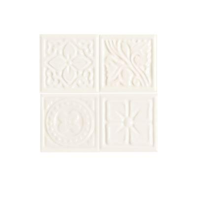 Daltile Fashion Accents 190 Arctic White Floret Insert 2″ X 2″ (set Of 4) White/Cream FA5122DOTSA1P