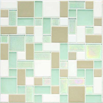 Daltile Coastal Keystones Trade Wind Block Random Mosaic White/Cream CK86BLRANDPM1P