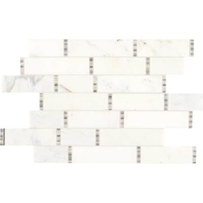 Daltile Marble Collection First Snow Elegance Random Linear Mosaic (polished) White/Cream M1901118RDMS1L