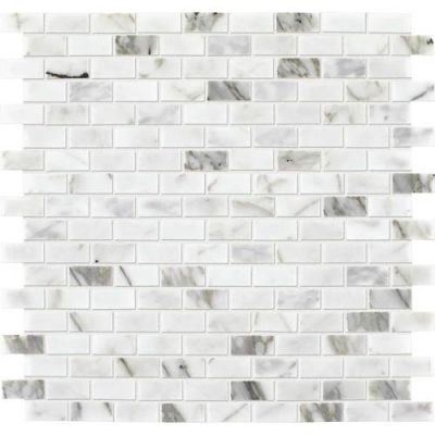 Daltile Marble Collection Venetian Calacatta 1/2 x 1 BrickJoint Mosaic Polished M474121BJMS1L