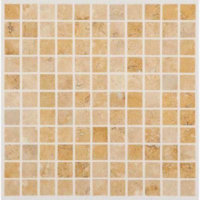 Daltile Travertine Collection Fossil Ridge Cross Cut 1×1 Mosaic (honed) Beige/Taupe T10211MS1U