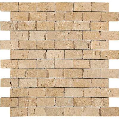 Daltile Travertine Collection Fossil Ridge Cross Cut 1×2 Mosaic (SplitFace) T10212SF1S