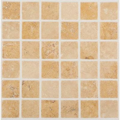 Daltile Travertine Collection Fossil Ridge Cross Cut 2×2 Mosaic (Tumbled) T10222MSTS1P