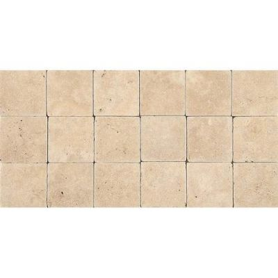 Daltile Travertine Collection Fossil Ridge Cross Cut 4×4 (tumbled) Beige/Taupe T10244TS1P
