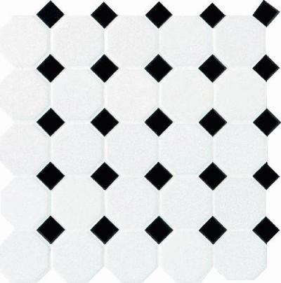 Daltile Octagon And Dot Matte White With 21 Black Gloss Dot Gray/Black 65012OCT21MS1P2