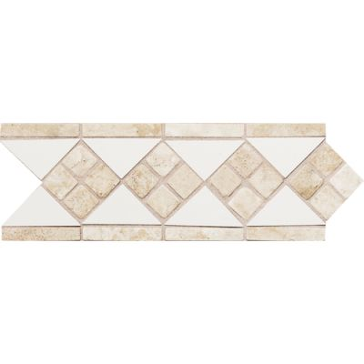 Daltile Fashion Accents 100 White Travertine 4 x 12 Tumbled Stone Listello FA50412LIST1P
