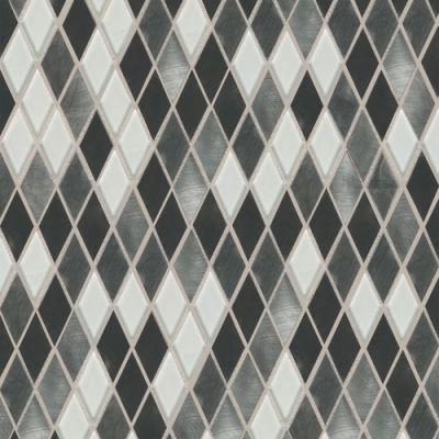 Daltile Fashion Accents Nickel Blend 12 X 12 Sheet Harlequin Mosaic Gray/Black FA6411HARMS1P