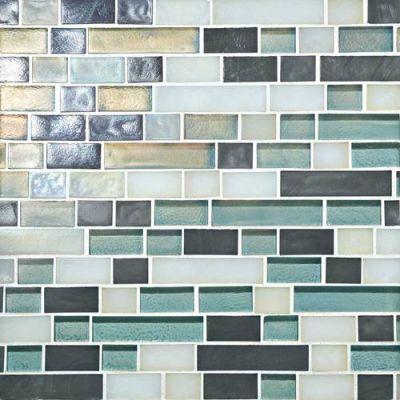 Daltile Glass Horizons Atlantic Blend Random Linear Mosaic Blue GH1134RANDPM1P