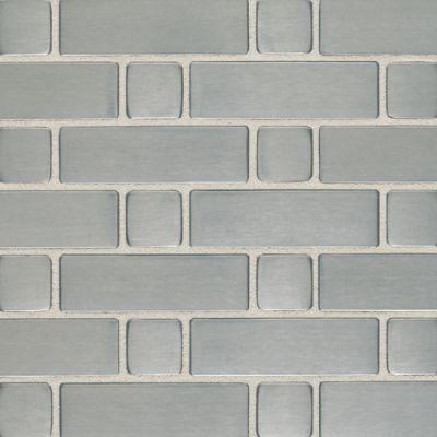 Daltile Metallica Brushed Stainless Steel Large Basketweave Mosaic Gray/Black SS50LBWMS1P