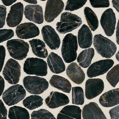Daltile Stone Mosaics Black River Pebble Mosaic Saw Cut DA05RIVRPEBMS1P
