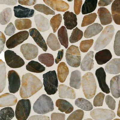 Daltile Stone Mosaics Earthy Blend River Pebble Mosaic Saw Cut DA07RIVRPEBMS1P