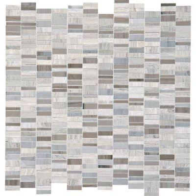 Daltile Stone Mosaics Chenille White/Silver Screen1 x Random Mosaic DA081RANDMS1P