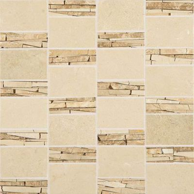 Daltile Stone Mosaics Crema Marfil Classico Abstract Mosaic Polished White/Cream M722ABSTRACMS1P