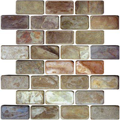 Daltile Slate Collection Autumn Mist (brickjoint Natural Cleft) Brown S77213BRICKMS1P